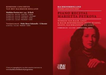 Programmaboekje Februariconcert 2013 - Bachkoor Holland