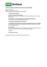 1 AGENDA ALGEMENE LEDENVERGADERING D66 ... - D66 Arnhem