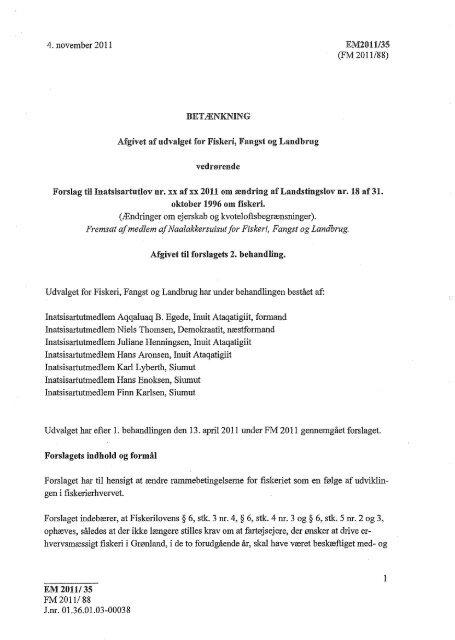 Betænkning 2. beh. inkl bilag - Inatsisartut