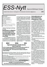 BSC ESS SIS - Ergonomi, Arbetsmiljö och Ergonomer i Stockholm