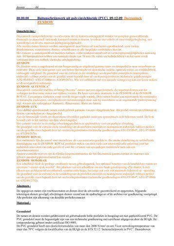 (PVC) 09-12-09 Deceuninck ZENDOW - Haal meer uit uw ramen