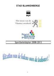 Sportbeleidsplan 2008-2013 - Sport - Stad Blankenberge