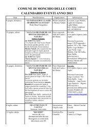 Monchio delle Corti PR – Calendario eventi anno 2013
