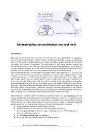 De begeleiding van problemen met veel melk - Lactatiekundige hulp ...