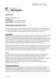 Aan de raad Samenvatting voorjaarsnota 2012 - Almelo Sociaal