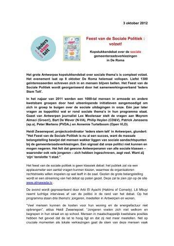 Persbericht Feest van de Sociale Politiek op 8 ... - RISO-antwerpen