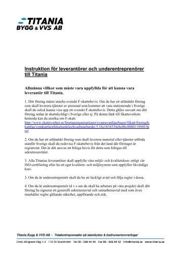 Praktiska instruktion och villkor för leverantörer och ... - Titania