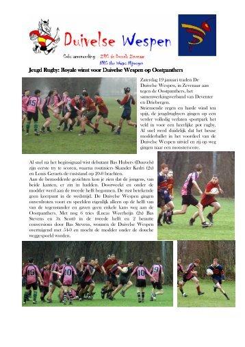 Jeugd Rugby: Royale winst voor Duivelse Wespen op Oostpanthers