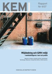 Miljöledning och giftfri miljö, kemikaliefrågorna i teori och praktik ...