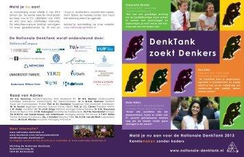 Bekijk hier de folder over deelname aan de Nationale DenkTank 2013
