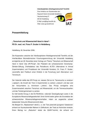 Pressemitteilung - Interdisziplinäre Arbeitsgemeinschaft Tierethik