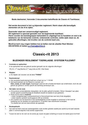 Reglement Toerklasse Classicrit en Stokrit 2013 versie ... - Online.nl