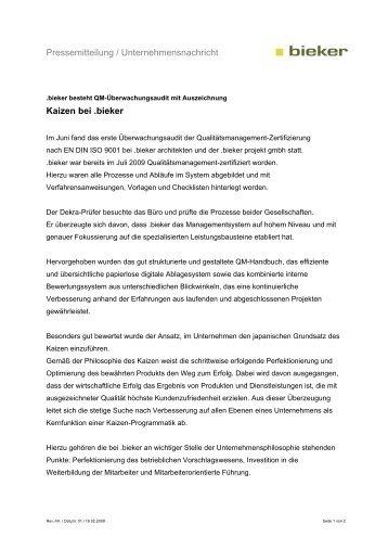 Pressemitteilung / Unternehmensnachricht Kaizen bei .bieker