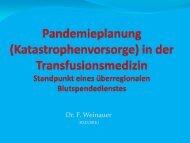 Pandemieplanung in der Transfusionsmedizin: Standpunkt eines ...