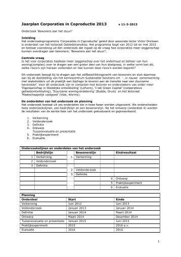 Jaarplan Corporaties in Coproductie 2013 - RDM Campus