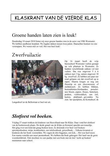 KLASKRANT VAN DE VIERDE KLAS Groene ... - VBS Westouter