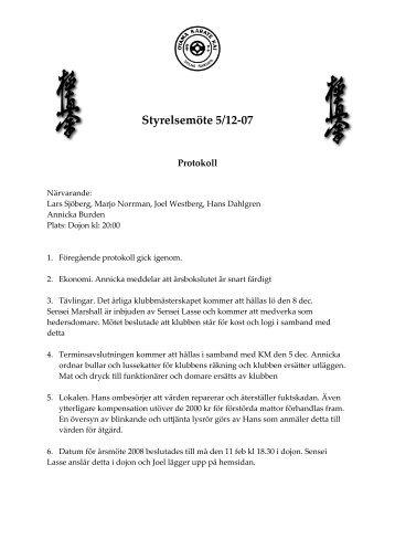 Styrelsemöte 5/12-07