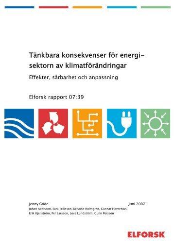 Tänkbara konsekvenser för energi- sektorn av ... - Svensk Energi