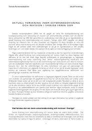 aktuell forskning inom externredovisning och revision i Sverige