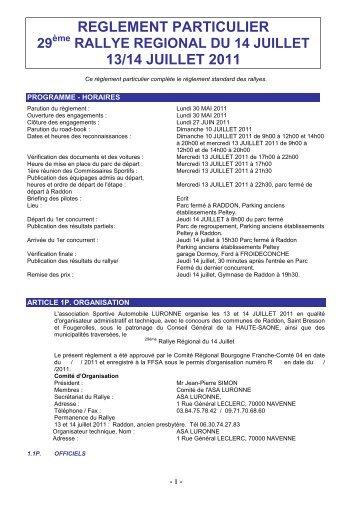 reglement Rallye R-gional du 14 Juillet - Rallye-Sport