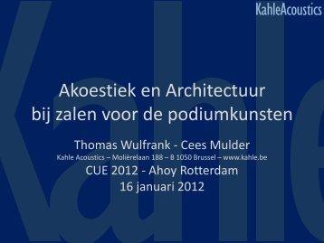 Akoestiek en Architectuur bij zalen voor de ... - Zichtlijnen