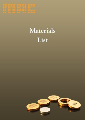 Download Materials List - Micro-Analysis Consultants Ltd