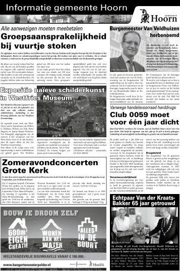 informatiepagina's woensdag 29 juli 2009 - Gemeente Hoorn