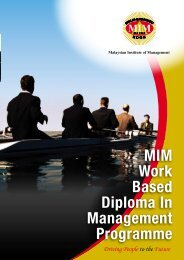 MIM Work Based Diploma - Malaysian Institute of Management