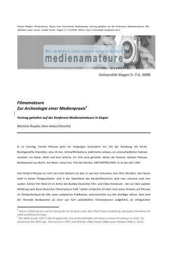 Filmamateure Zur Archeologie einer Medienpraxis1