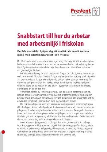 Broschyr - Snabbstart - Prevent