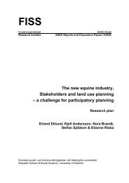The new equine industry, Stakeholders and land use planning - och ...