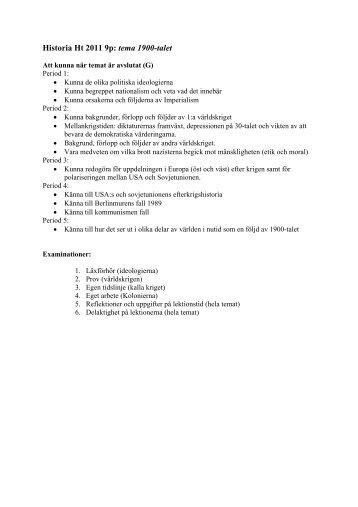 Historia Ht 2011 9p: tema 1900-talet - Annerstaskolan