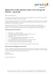 Hjælp dine kunder gennem krisen: Om at bruge ... - persolog danmark