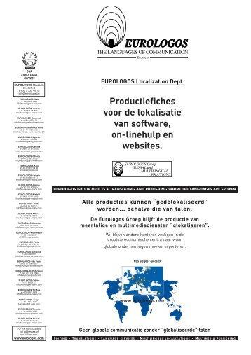 Productiefiches voor de lokalisatie van software, on ... - Eurologos