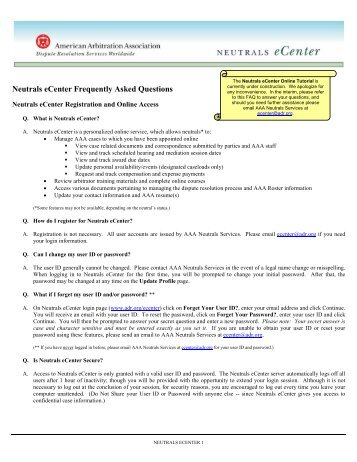 Before the american arbitration association hereafter neutrals ecenter tutorial american arbitration association online fandeluxe Images