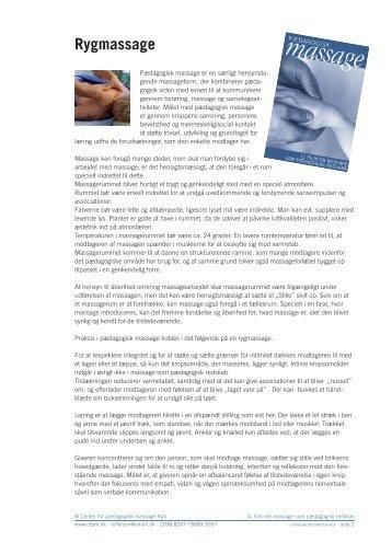 Rygmassage - center for pædagogisk massage