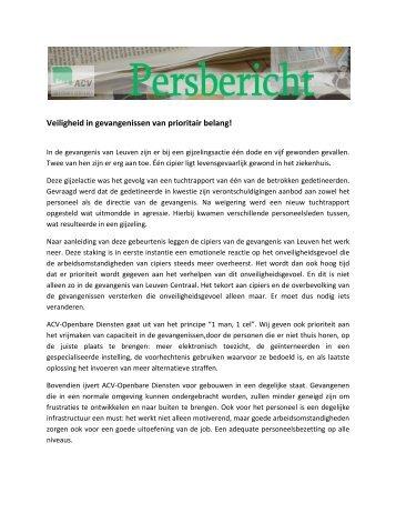 Veiligheid in gevangenissen van prioritair belang! - ACV Openbare ...