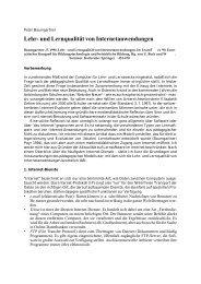 Lehr- und Lernqualität von Internetanwendungen - Peter Baumgartner