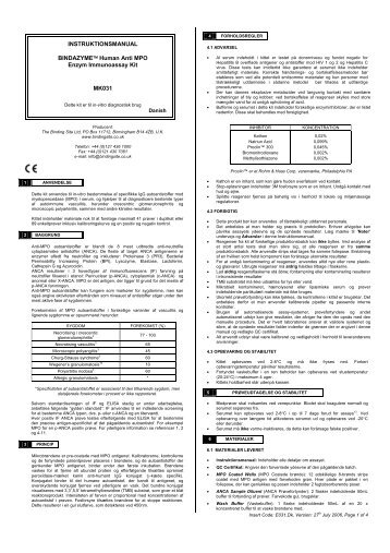 INSTRUKTIONSMANUAL BINDAZYME™ Human Anti MPO ... - Inova