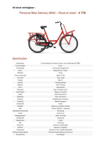 Personal Bike Delivery 26N3 – Rood of zwart - € 779