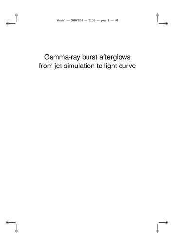 Gamma-ray burst afterglows from jet simulation to ... - Get a Free Blog