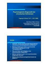 Psychologische Diagnostik bei chronischen Schmerzen