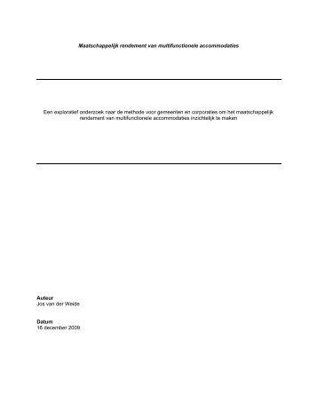 Maatschappelijk rendement van MFA's - Bouwstenen voor Sociaal