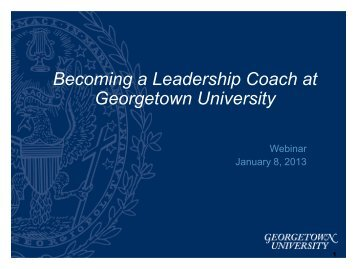 Becoming a Leadership Coach at Georgetown University