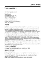 Curriculum Vitae - Andrey Smirnov