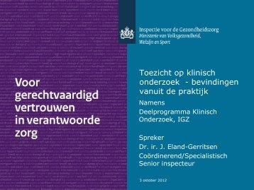 Brainstorm risicogestuurd inspecteren: inspecties op ... - DCTF
