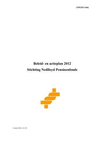 Beleid- en actieplan 2012 Stichting Nedlloyd Pensioenfonds
