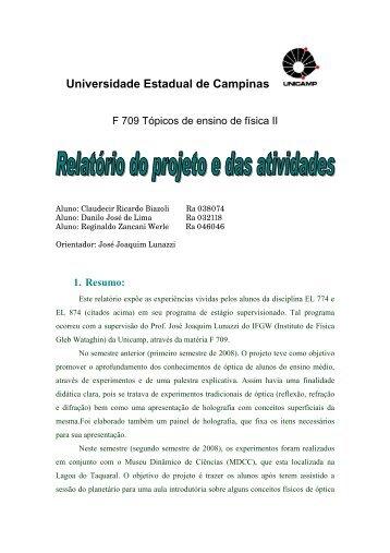 Universidade estadual de Campinas - Instituto de Física Gleb ...