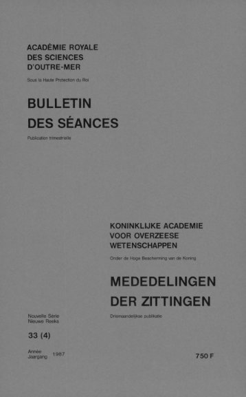 bulletin des séances mededelingen der zittingen - Royal Academy ...