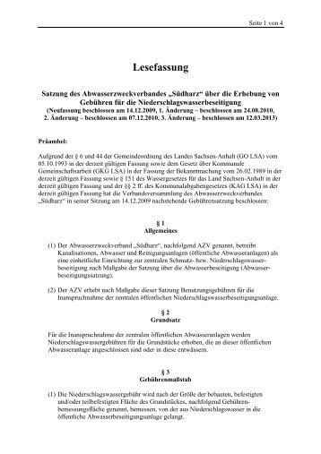 Satzung zur Erhebung von Gebühren für die ... - Abwasser Südharz